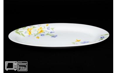 Овальное блюдо 30 см Сиреневый цветок, костяной фарфор