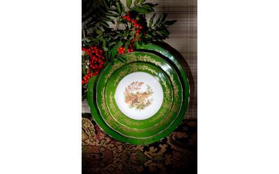 Тарелка для торта 28см Охота Царская зеленая, Leander