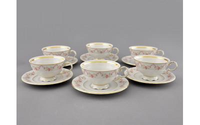 Набор чашек низ. с блюдцем 6шт 0,20л 07160425-0158 Верона, Мелкие цветы, отводка золото, Leander