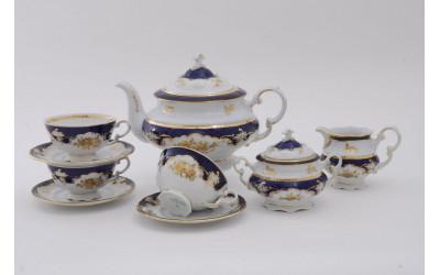 Сервиз чайный 15 предм. 07160725-1457 Соната Кобальтовый орнамент, золотая роза, Leander