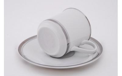 Набор чашек выс. с блюдцем 6шт 0,15л 02160414-0011 Отводка платина, Leander