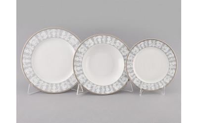 Набор тарелок 18предм.с тарел.дес. 19см 02160129-1013 Сабина Серый орнамент, Leander