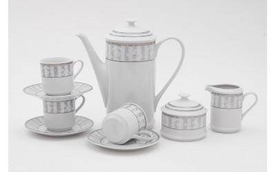 Сервиз кофейный 15 предм. чаш. 0,15л 02160714-1013 Сабина Серый орнамент, Leander