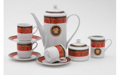 Сервиз кофейный 15предм. 0,15л 02160714-B979 Красная лента Версаче, Leander