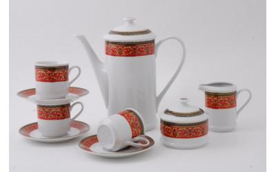 Сервиз кофейный 15 предм. чаш. 0,15л 02160714-0979 Красная лента, Leander