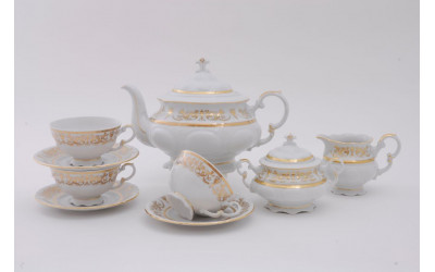 Сервиз чайный 15 предм. 07160725-1373 Соната Золотой орнамент, отводка золото, Leander
