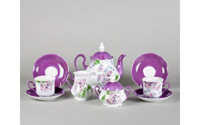 Сервиз чайный 15 предм 03160725-2391 Мэри-Энн Лиловые цветы, Leander