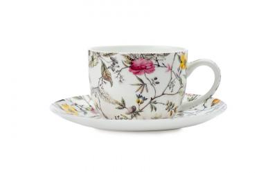 Чашка с блюдцем для кофе Цветение в подарочной упаковке