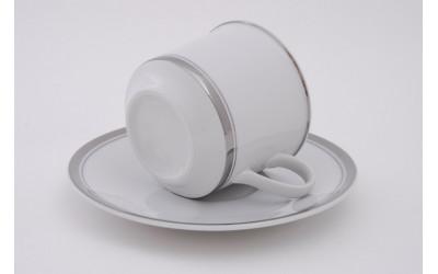 Набор чашек выс. с блюдцем 6 шт. 0,20л 02160415-0011 Отводка платина, Leander