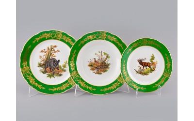 Набор тарелок 18предм. с тар. дес. 19 03160119-0763 Охота Царская зеленая, Leander