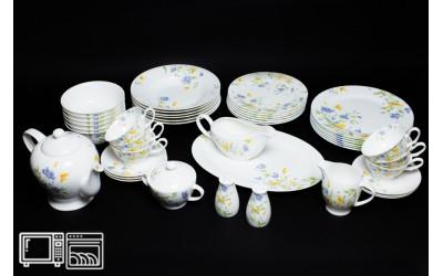 Чайно-Столовый сервиз на 6 персон 45 предметов СИРЕНЕВЫЙ ЦВЕТОК, Rulanda, костяной фарфор