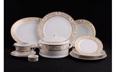 Сервиз столовый 25 предм. 02162021-1373 Соната Золотой орнамент, отводка золото, Leander