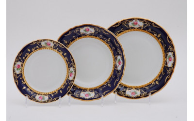 Набор тарелок 18предм. с т. дес. 19см 07160119-0440 Соната Кобальтовая лента, мелкие цветы, Leander