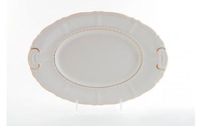 Блюдо овальное 32см 07111512-1239 Соната Золотая лента, слоновая кость, Leander