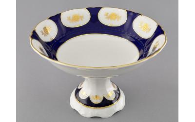 Ваза для фруктов на ножке 23см 07116155-0443 Соната Кобальтовый орнамент, золотой цветок, Leander