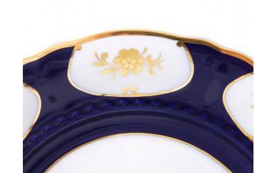 Тарелка для торта с ручками 26см 07116024-0443 Соната Кобальтовый орнамент, золотой цветок, Leander