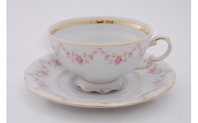 Набор из двух чайных пар 0.20 л  Мелкие цветы, отводка золото