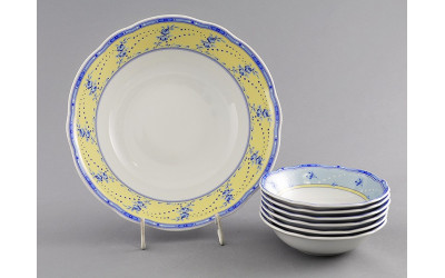 Набор салатников 7пр. 03161416-0667 Мэри-Энн Голубые цветы на желтом фоне, Leander