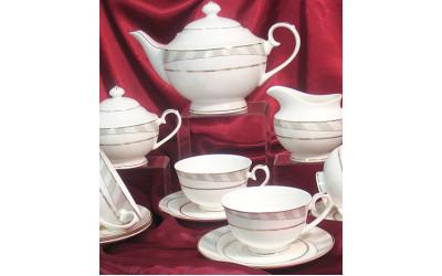 Сервиз чайный 17 предметов на 6 персон Серые полоскиY05-54H-4, Japonica