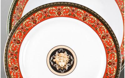 Набор тарелок десертных 6шт 19см 02160329-B979 Красная лента Версаче, Leander