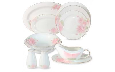 Обеденный сервиз Розовые цветы 27 предметов на 6 персон