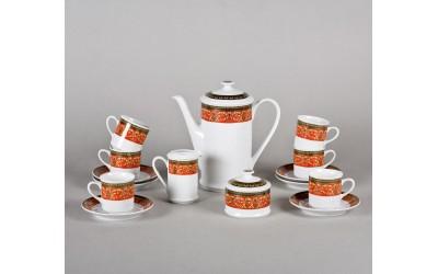 Сервиз кофейный мокко 15 предм. 02160713-0979 Красная лента, Leander