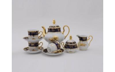 Сервиз чайный 15 предм 03160725-0431 Мэри-Энн Мэри-Энн Золотая роза, кобальтовый борт, Leander