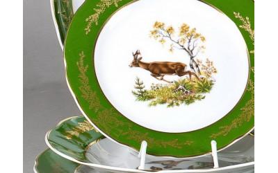 Тарелка для торта 28см 03116015-0763 Охота Царская зеленая, Leander