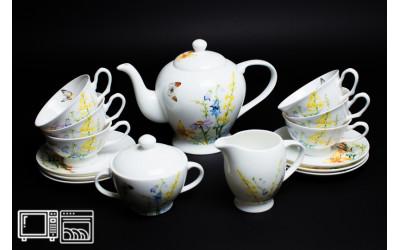 Чайный сервиз на 6 персон Дейзи Бабочки, Rulanda, костяной фарфор