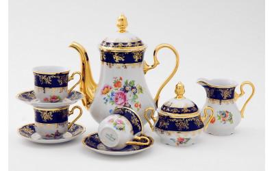Сервиз кофейный 15предм. чаш. 0,15л 03160714-0086 Мелкие цветы, кобальтовый борт, Leander