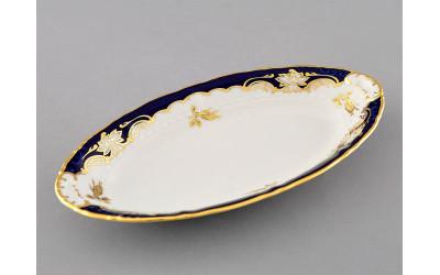 Блюдо овальное 23см 07116125-1457 Соната Кобальтовый орнамент, золотая роза, Leander