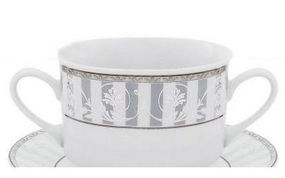 Набор чашек для супа с блюдц. 6шт 0,30л 02160673-1013 Сабина Серый орнамент, Leander