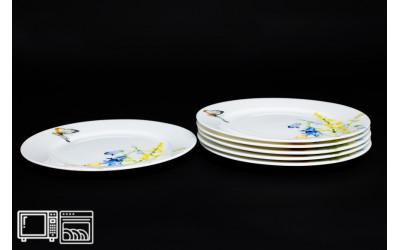 Набор тарелок 6 шт. 25 см Дейзи Бабочки, костяной фарфор