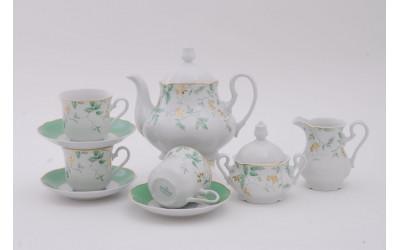 Сервиз чайный 15 предм 03160725-1381 Мэри-Энн Зеленые листья, Leander