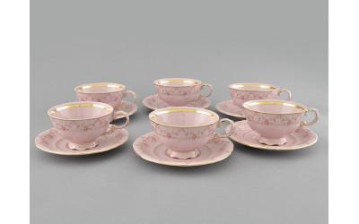 Набор чашек низких с блюд. 0,2л 6шт 07260425-0158 Верона, Мелкие цветы, отводка золото, Leander