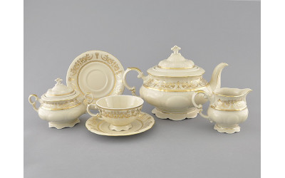 Чайный сервиз 15 предм. 07560725-1373 Соната Золотой орнамент, отводка золото, Leander