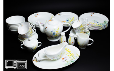 Чайно-Столовый сервиз на 6 персон 45 предметов ДЕЙЗИ БАБОЧКИ, Rulanda, костяной фарфор