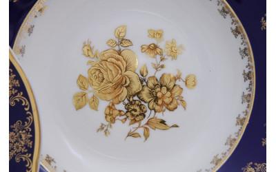 Набор тарелок глубоких 6шт. 23см 03160213-0431 Мэри-Энн Мэри-Энн Золотая роза, кобальтовый борт, Leander