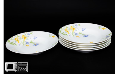 Набор тарелок 6 шт. 23см (суп) Сиреневый цветок, костяной фарфор