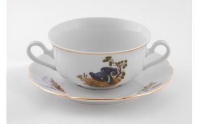 Чашка для супа  с блюдц. 2руч. 0,35л 03120624-0363 Мэри-Энн, Охота, Leander