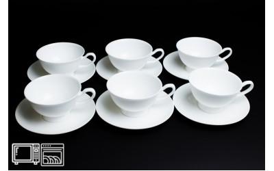 Набор чайных пар 6 шт. 200мл Белый, костяной фарфор