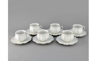 Набор чашек с блюдцем 0,20л 6шт 62160415-2215 Виктория, Leander