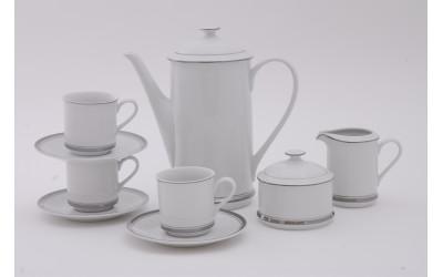 Сервиз кофейный 15 предм. чаш. 0,15л 02160714-0011 Отводка платина, Leander
