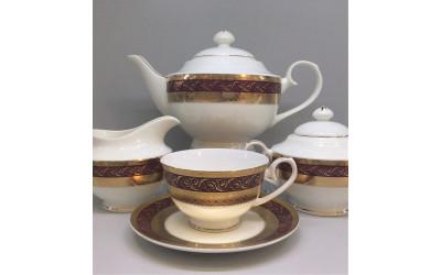 Сервиз чайный 17 предметов на 6 персон Королевский рубин GMEMGD-4259RD-4, Japonica