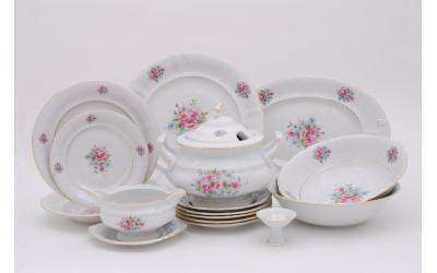 Сервиз столовый 25предм. 07162011-0013 Соната Розовые цветы, отводка золото, Leander