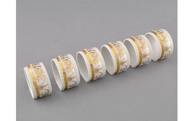 Набор колец для салфеток 6предм. 07164612-1373 Соната Золотой орнамент, отводка золото, Leander