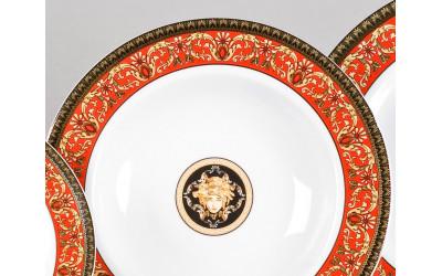 Набор тарелок глубоких 6шт 23см 02160223-B979 Красная лента Версаче, Leander