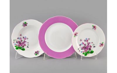 Набор тарелок 18предм. с тар. дес. 19 03160119-2391 Мэри-Энн Лиловые цветы, Leander