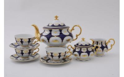 Сервиз чайный 15 предм. 07160725-0443 Соната Кобальтовый орнамент, золотой цветок, Leander