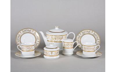 Сервиз чайный 15предм. 02160725-1373 Соната Золотой орнамент, отводка золото, Leander